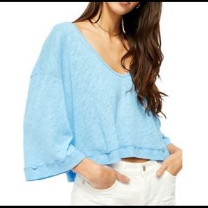 Free People Fresh Start Tee Blue Size Small New